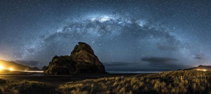 Milky way Panorama at Piha beach